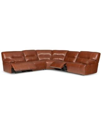 CLOSEOUT! Beckett 5-pc Leather Sectional Sofa with 2 Power Recliners, Created for Macy's
