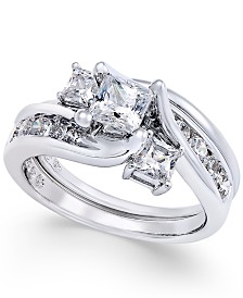 Diamond Interlocking Bridal Set (1-1/2 ct. t.w.) in 14k White Gold