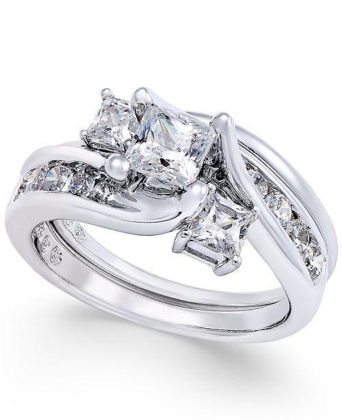 Macy's Diamond Interlocking Bridal Set (1-1/2 ct. t.w.) in 14k White Gold