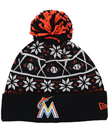 New Era Miami Marlins Sweater Chill Pom Knit Hat