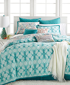 CLOSEOUT! Kelly Ripa Home Fretwork Aqua 10-Pc Reversible King Comforter Set