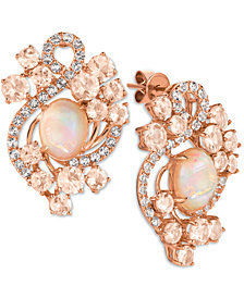 Le Vian Crazy Collection® Neapolitan Opal (2-3/10 ct. t.w.), Peach Morganite (3-1/5 ct. t.w.) and White Topaz (9/10 ct. t.w.) Stud Earrings in 14k Rose Gold, Created for Macy's