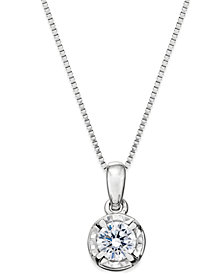 Diamond Round Pendant Necklace (1/4 ct. t.w.) in 14k White Gold
