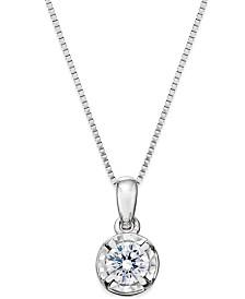 Diamond Round Pendant Necklace (1/4 ct. t.w.) in 14k White Gold