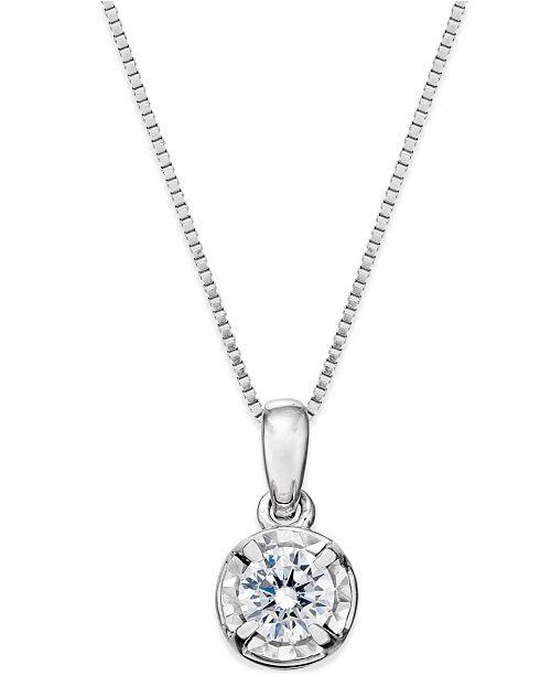 Macys diamond round pendant necklace 14 ct tw in 14k white main image aloadofball Choice Image