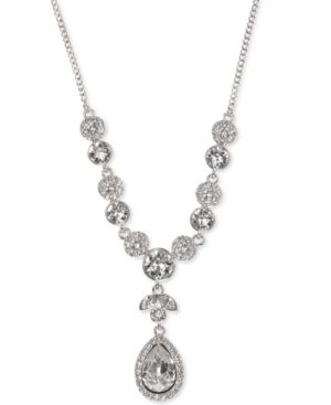 Multi-Crystal And Pave Y-Neck Necklace in Silver