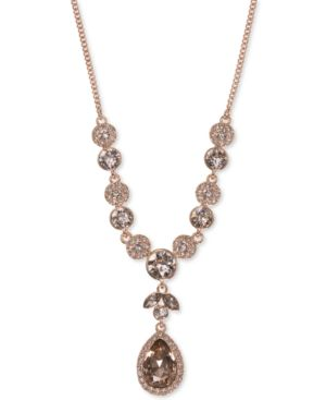 Multi-Crystal Y-Neck Necklace in Rose Gold