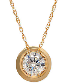 Bezel-Set Cubic Zirconia Pendant Necklace in 14k Yellow, White, or Rose Gold