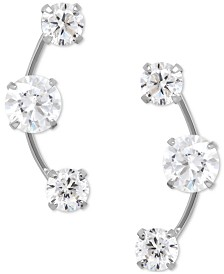 Cubic Zirconia 3-Stone Ear Climber Earrings in 14k Yellow, White, or Rose Gold