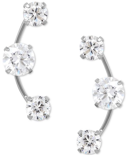 Macy's Cubic Zirconia 3-Stone Ear Climber Earrings in 14k Yellow, White, or Rose Gold