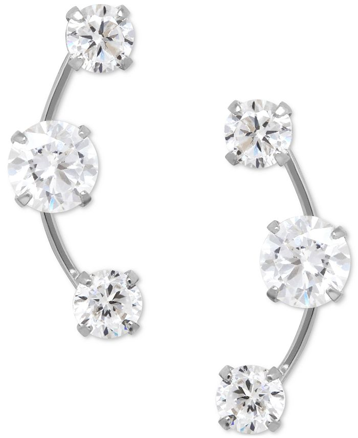 Macy's - Cubic Zirconia 3-Stone Ear Climber Earrings in 14k Yellow, White, or Rose Gold