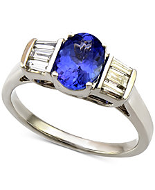 Tanzanite (1-1/5 ct. t.w.) and Diamond (1/3 ct. t.w.) Ring in 14k White Gold