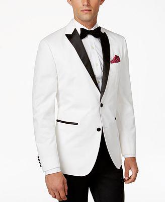 BAR III Men&39s Satin-Lapel Slim-Fit White Dinner Jacket Only at