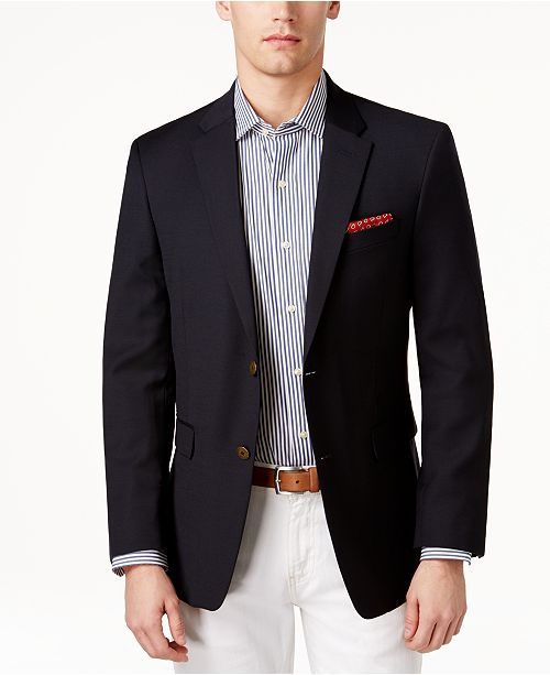 2a7a6184d3b Tommy Hilfiger Modern-Fit TH Flex Solid Navy Blazer - Blazers ...