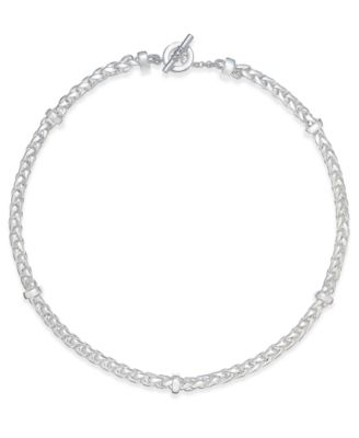 Image of Lauren Ralph Lauren Silver-Tone Braided Toggle Necklace