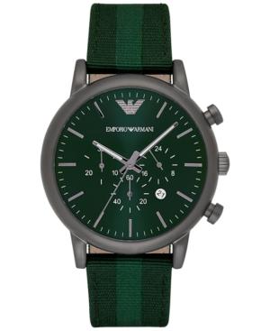 Emporio Armani Men's Chronograph Luigi Green Leather Backed Nylon Strap Watch 46mm AR1950