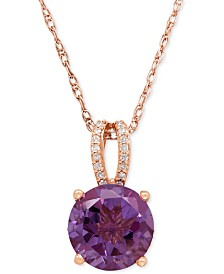 Amethyst (2-1/2 ct. t.w.) and Diamond (1/8 ct. t.w.) Pendant Necklace in 14k Rose Gold