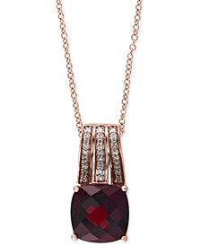 "Bordeaux by EFFY® Garnet (3-1/2 ct. t.w.) and Diamond (1/10 ct. t.w.) 18"" Pendant Necklace in 14k Rose Gold"