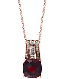"Bordeaux by EFFY Garnet (3-1/2 ct. t.w.) and Diamond (1/10 ct. t.w.) 18"" Pendant Necklace in 14k Rose Gold"