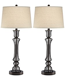 Pacific Coast Set of 2 Wire Column Table Lamps, Created for Macy's