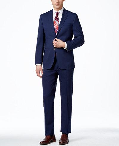 Lauren Ralph Lauren Navy Solid Total Stretch Slim-Fit Suit ...