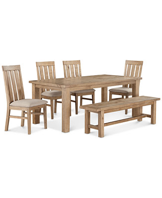 Abilene 6 pc dining set table 4 side chairs bench for Macys dining table