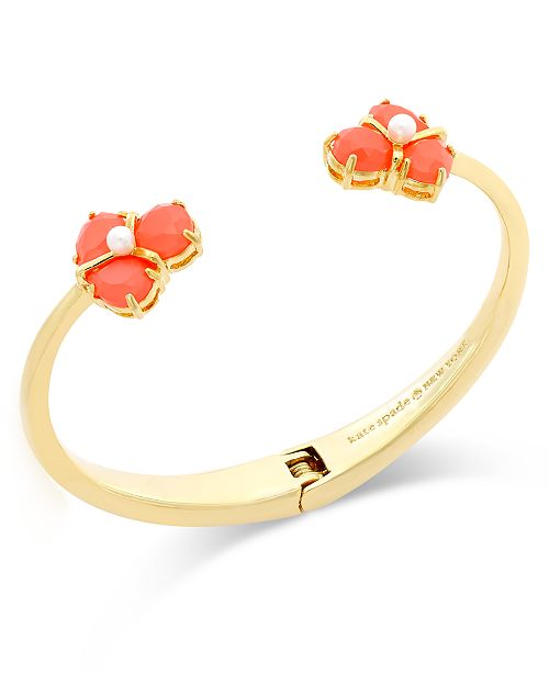 kate spade new york Gold-Tone Stone Cluster Hinged Cuff Bracelet