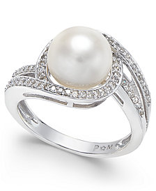 White Cultured Pearl (9mm) and Diamond (1/3 ct. t.w.) Swirl Ring in 14k White Gold