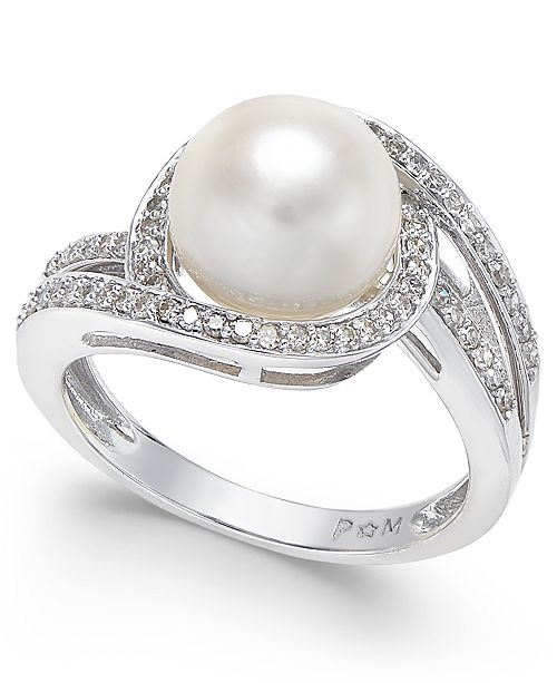 Macy's White Cultured Freshwater Pearl (9mm) and Diamond (1/3 ct. t.w.) Swirl Ring in 14k White Gold (Also Available in 14k Yellow Gold & 14k Rose Gold)