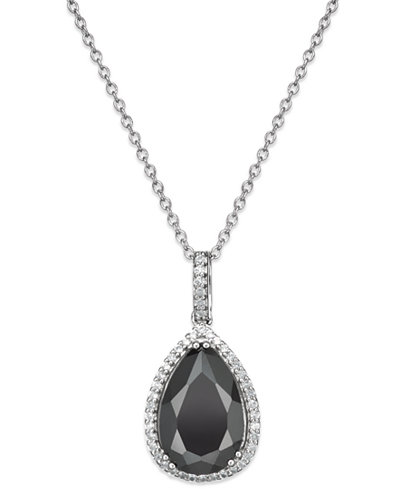 Black Sapphire (6 ct. t.w.) and White Topaz (1/4 ct. t.w.) Pendant Necklace in Sterling Silver, Created for Macy's