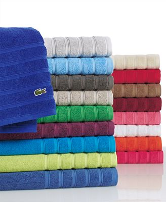 CLOSEOUT Lacoste Croc Solid Bath Towel Collection Pure Cotton