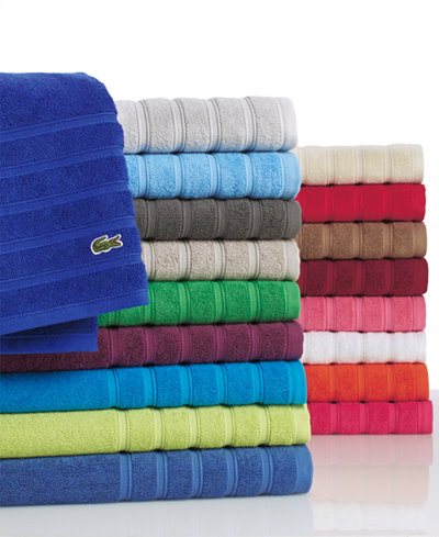 CLOSEOUT! Lacoste Croc Solid Bath Towel Collection, Pure Cotton