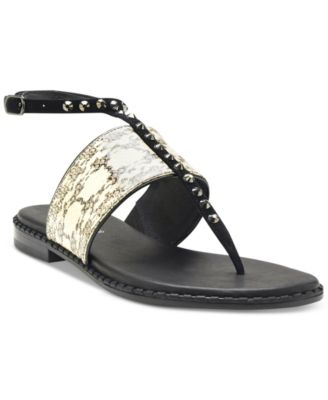 donald pliner outlet bhju  Donald Pliner Snake-Print Studded Thong Sandals
