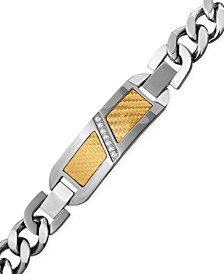 Men's Diamond (1/10 ct. t.w.) Decorative Plate Heavy Link Bracelet in Stainless Steel with 18k Gold Inlay