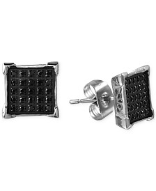 Men's Black Diamond Earrings (1/4 ct. t.w.) in Stainless Steel