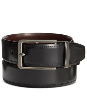 Perry Ellis Men's Leather Silver Lines Reversible Belt 2640346