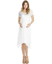 Jessica Simpson Lace Handkerchief-Hem Dress
