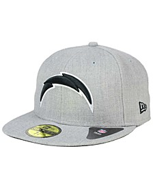 Los Angeles Chargers Heather Black White 59FIFTY Fitted Cap