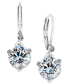 kate spade new york Silver-Tone Solitaire Crystal Drop Earrings