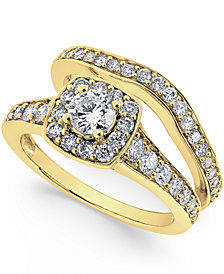 Diamond Frame Bridal Set (1-1/4 ct. t.w.) in 14k Yellow or White Gold