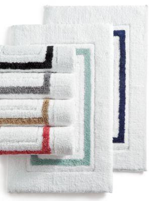 kassatex framed stripe bath rug collection