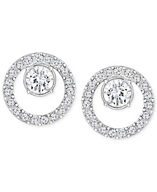 Pavé Circle and Crystal Stud Earrings