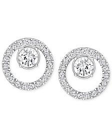 Swarovski Pavé Circle and Crystal Stud Earrings