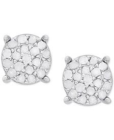 Diamond Cluster Stud Earrings (1/4 ct. t.w.) in Sterling Silver