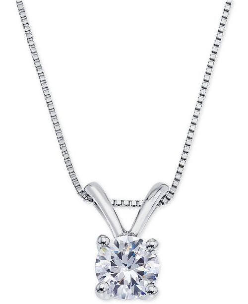 Macy's Certified Diamond Pendant Necklace (1/2 ct. t.w.) in 18k White Gold