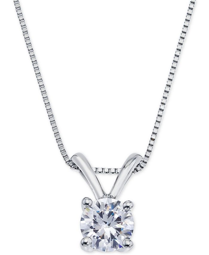 Macy's - Certified Diamond Pendant Necklace (1/2 ct. t.w.) in 18k White Gold