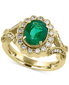Brasilica by EFFY Emerald (1-1/2 ct. t.w.) and Diamond (3/8 ct. t.w.) Ring in 14k Gold, Created for Macy's