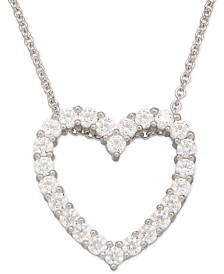 Swarovski Zirconia Heart Pendant Necklace in Sterling Silver