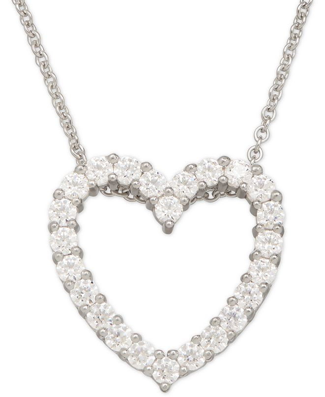 Macy's Swarovski Zirconia Heart Pendant Necklace in Sterling Silver