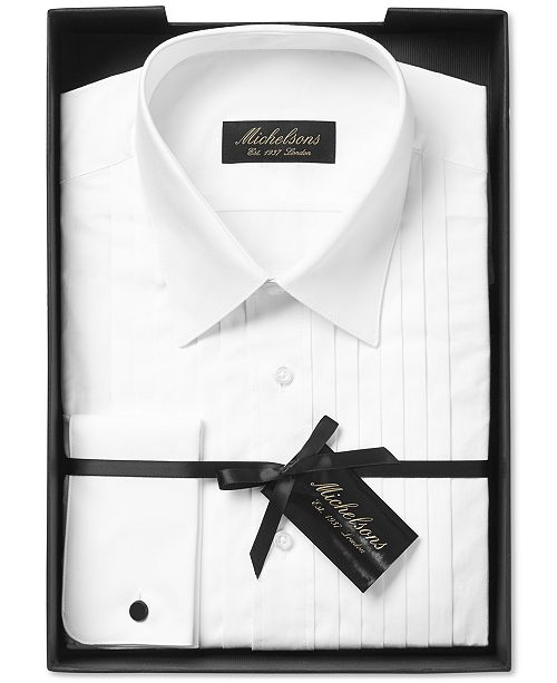 4e004cde1913 ... Michelsons Men's Classic-Fit Pleated Point Collar Tuxedo Shirt with  French Cuffs ...
